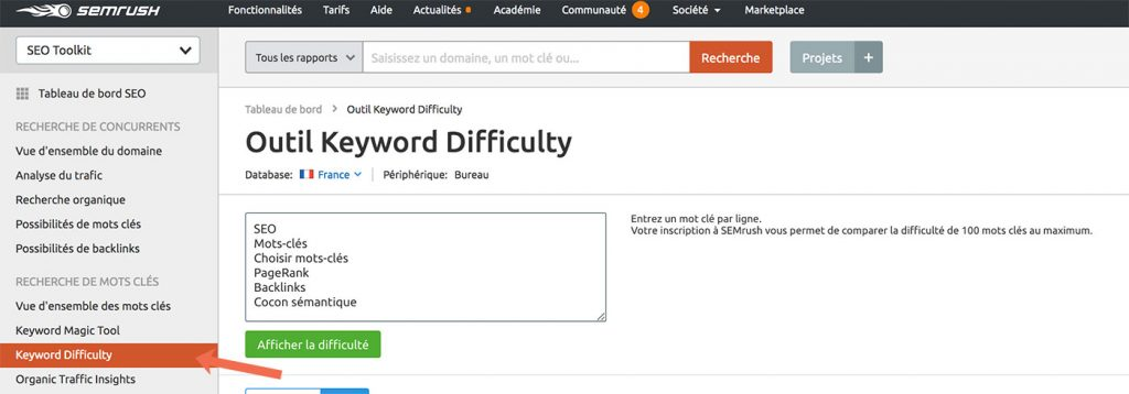 Outil SEMrush Keyword difficulty