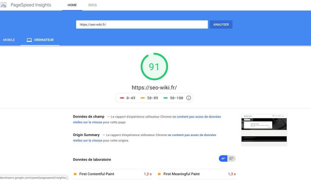 Rapport de performance Google PageSpeed Insights